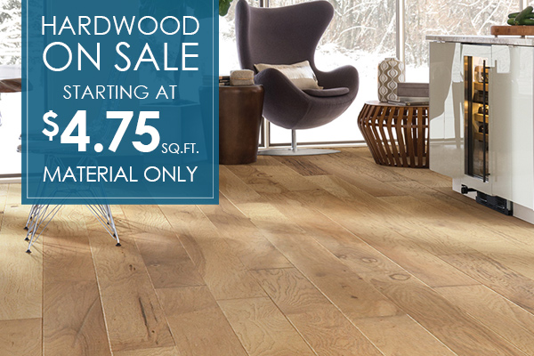 Hardwood on sale starting at $4.75 sq.ft. - Material Only.
